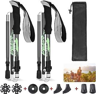 Punvot Bastones de Senderismo, Bastones Trekking Plegables, Bastón Plegable Aluminio y EVA, Palo de Trekking con Sistema d...