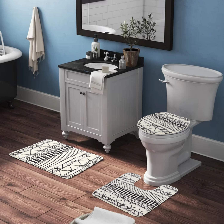 Buy HAOCOO Bath Rug Set 20 Piece Geometric Faux Wool Bath Mat with ...