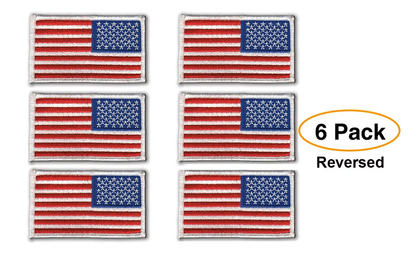 6 Pack - REVERSED American Flag Embroidered Patch, white border USA United States of America, US flag Patch, sew on