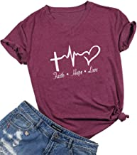 Faith Hope Love Christian T-Shirt Women Casual Letter Printed Short Sleeve Tops Tee (Large, Burgundy)