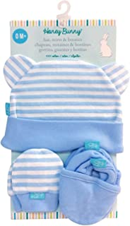 Baby Boy Hat, Mitts & Booties Gift Set Size 0 M+ 100% cotton