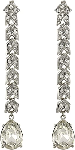 Silver/Crystal with Crystal Drop Long Clip Earrings
