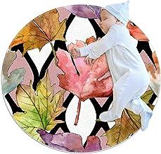 Rött blad gult blad, barn rund matta polyester överkast matta mjuk pedagogisk tvättbar matta barnkammare tipi tält lekmatta