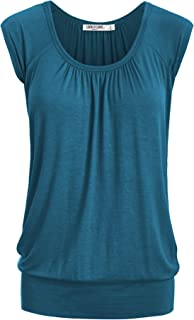 Women's Scoop Neck Short Sleeve Solid/Dip-Dye Ombre Sweetheart Top S-3XL Plus Size_Made in U.S.A.