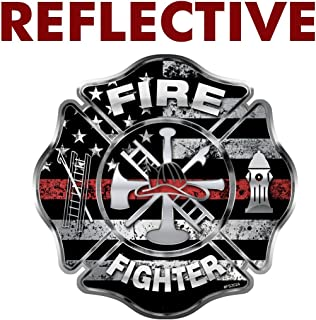 AZ House of Graphics REFLECTIVE Firefighter Thin Red Line Maltese Cross Sticker - #FS2024-REF