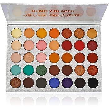 Beauty Glazed Eyeshadow Palette Matte Eyeshadow Pallet Pigmented Shades Makeup Palette Set Shimmer Foils Eye Makeup Long Lasting Palette of Shades 35 Colors Waterproof and Sweatproof