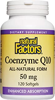 Natural Factors, Coenzyme Q10 50mg, CoQ10 Supplement for Energy, Heart and Antioxidant Support, Gluten Free, 120 softgels ...