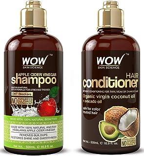 WOW Apple Cider Vinegar Shampoo & Hair Conditioner Set 500mL Increase Gloss Hydration Shine Reduce Itchy Scalp Dandruff