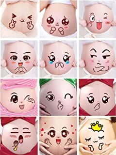 Creation Core Funny Facial Expressions Stickers Pregnancy Baby Bump Belly Stickers Maternity Pregnant Woman Photography Props (12 Sheets)