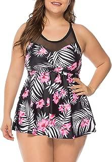 Women's Plus Size Floral Halter Swimsuit Two Piece Pin up Tankini Swimwear
