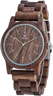 Uwood Wooden Watches LeeEv 40.5mm Unisex Natural Handmade Wood Watch with Gift Box & Band Adjust Tool