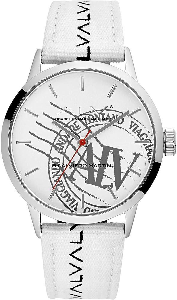 Alviero martini, orologio solo tempo per donna casual, in acciaio e cinturino in tessuto ALV0049