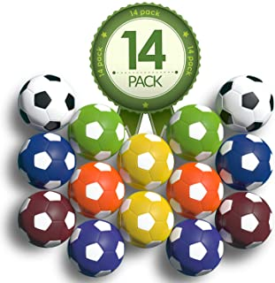 Colonel Pickles Novelties Foosball Table Replacement Foosballs- 14 Pack - 36mm Game Tabletop Size - Multi Colored Tabletop...