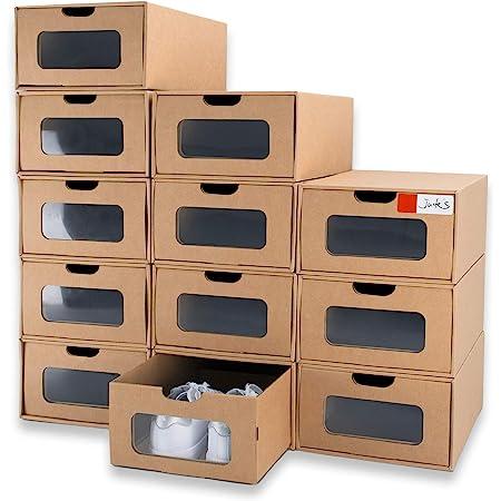 WallQmer 12 boîtes à Chaussures, Taille Standard : 33 x 22 x 14 cm, boîtes à Chaussures en Carton empilables, Respirantes et Stables, Organiseur de boîtes à Chaussures