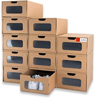 WallQmer 12 boîtes à Chaussures, Taille Standard : 33 x 22 x 14 cm, boîtes à Chaussures en Carton empilables, Respirantes ...