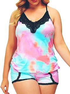 طقم بيجامة للنساء مقاس كبير مثير ملابس داخلية برقبة على شكل حرف V قميص بدون أكمام مع شورت