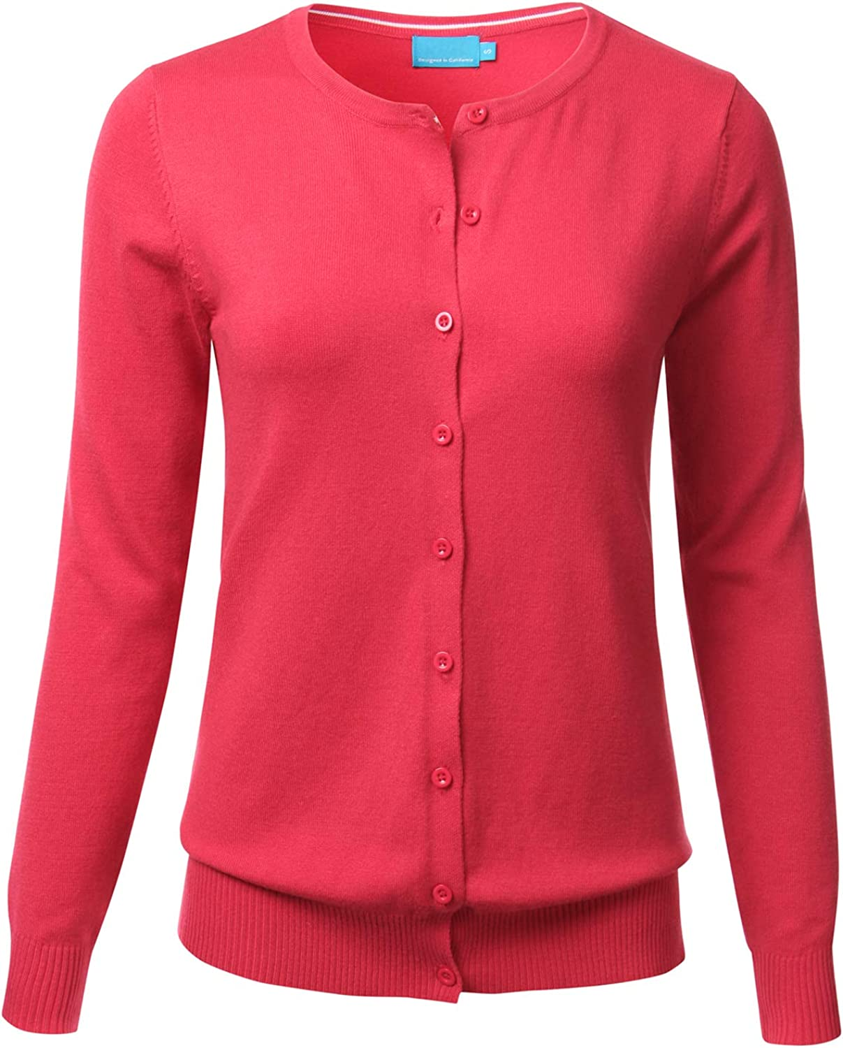 FLORIA Womens Button Down Crew Neck Long Sleeve Soft Knit Cardigan Sweater 1XL, Fc280_coral