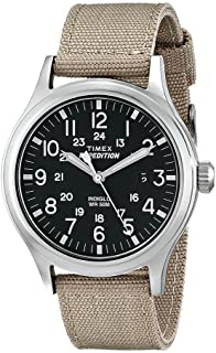 Timex T49962 Men's Expedition Scout Indiglo Night-Light Black Dial Tan Nylon Strap Watch
