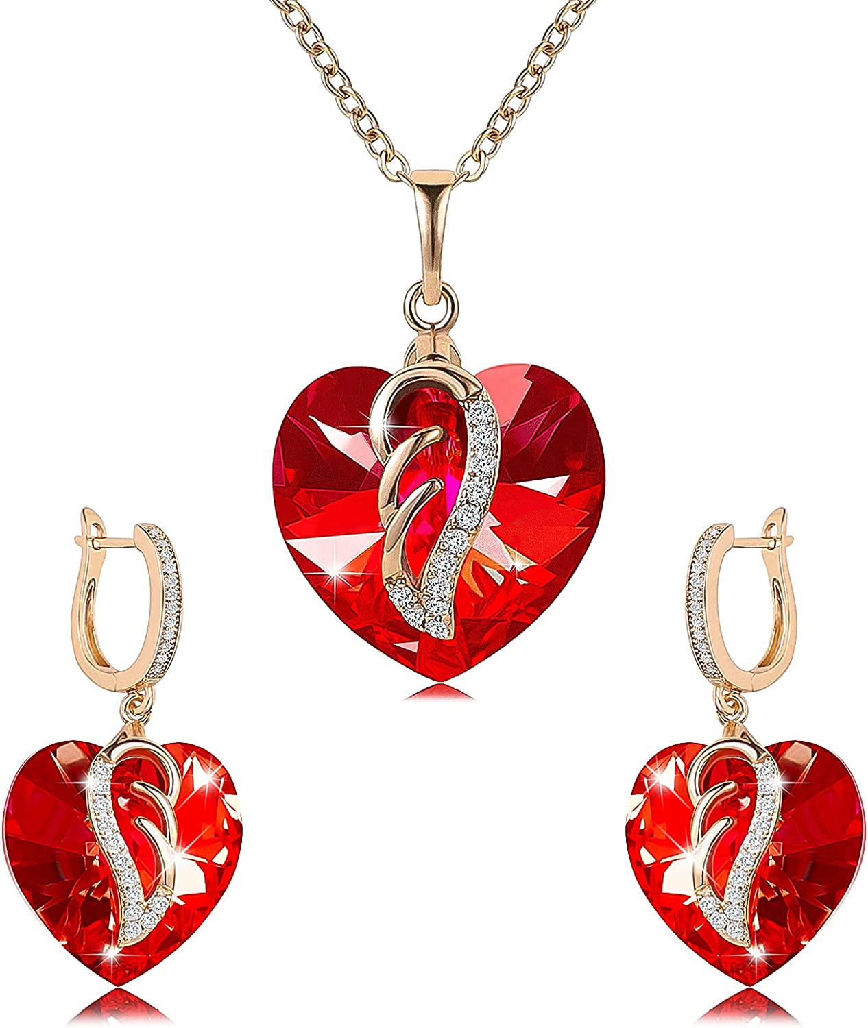 Austria Love Crystal Necklace And Earrings Jewelry Set Angel Wings 18K Gold Plated Women's Crystal Zircon Necklace Jewelry Gift