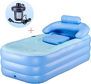 CO-Z Inflatable Bath Tub Adult PVC Portable Foldable Free Standing Bathtub for Adult Spa with Electric Air Pump