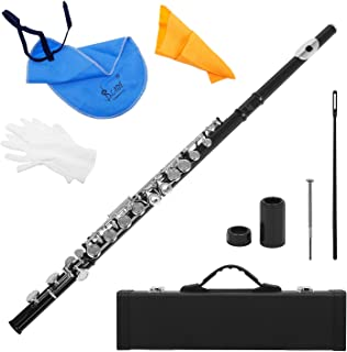 Andoer Western Concert Flûte Argent-Nickel Plaqué 16 Trous C Key Instrument à Vent avec Cork Gants Graisse Chiffon de Nett...