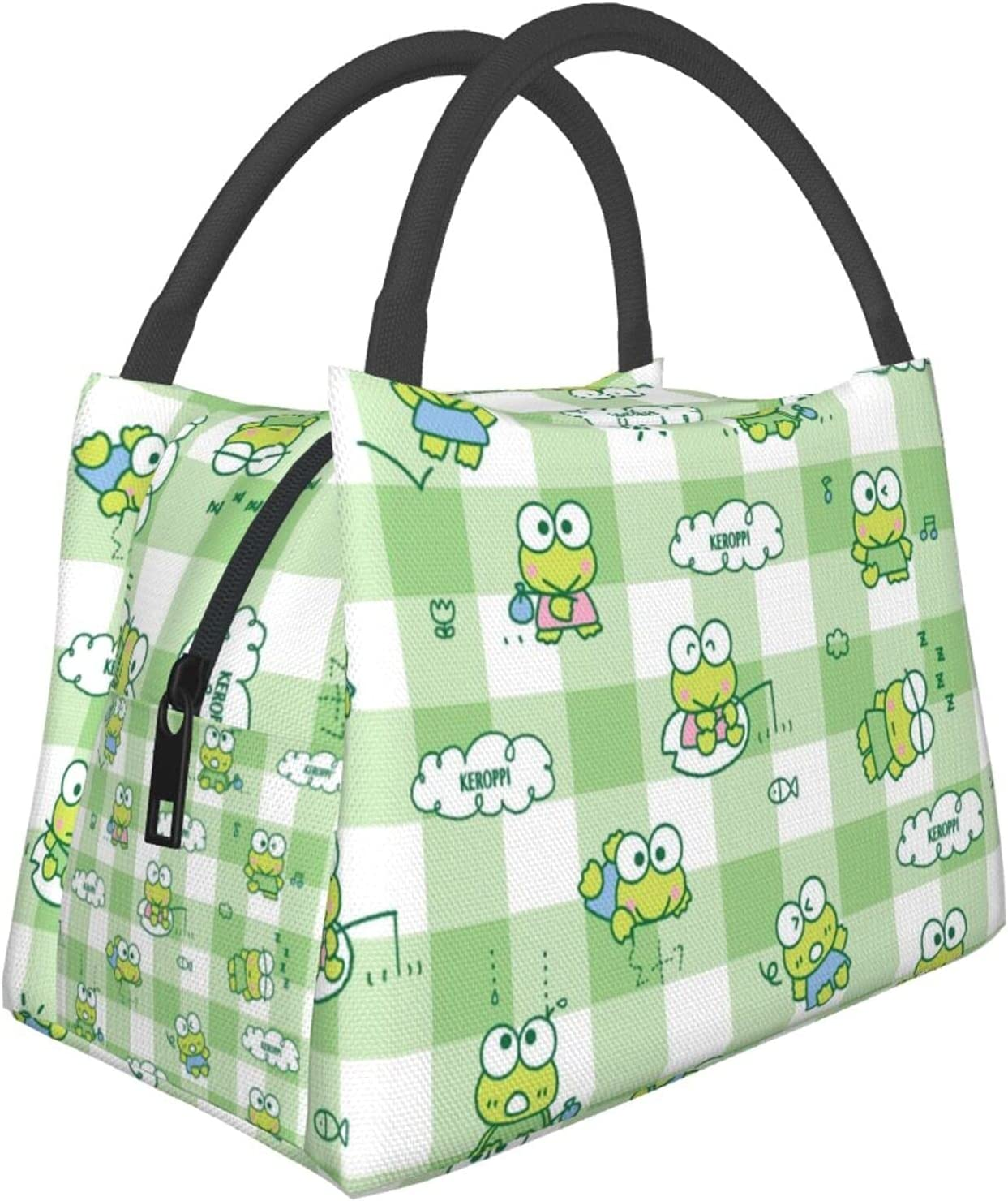 Happy Little Frogs Pattern Insulated Lunch Bag Large Lunch Tote Bag With Shoulder Strap for Boys Girls Women