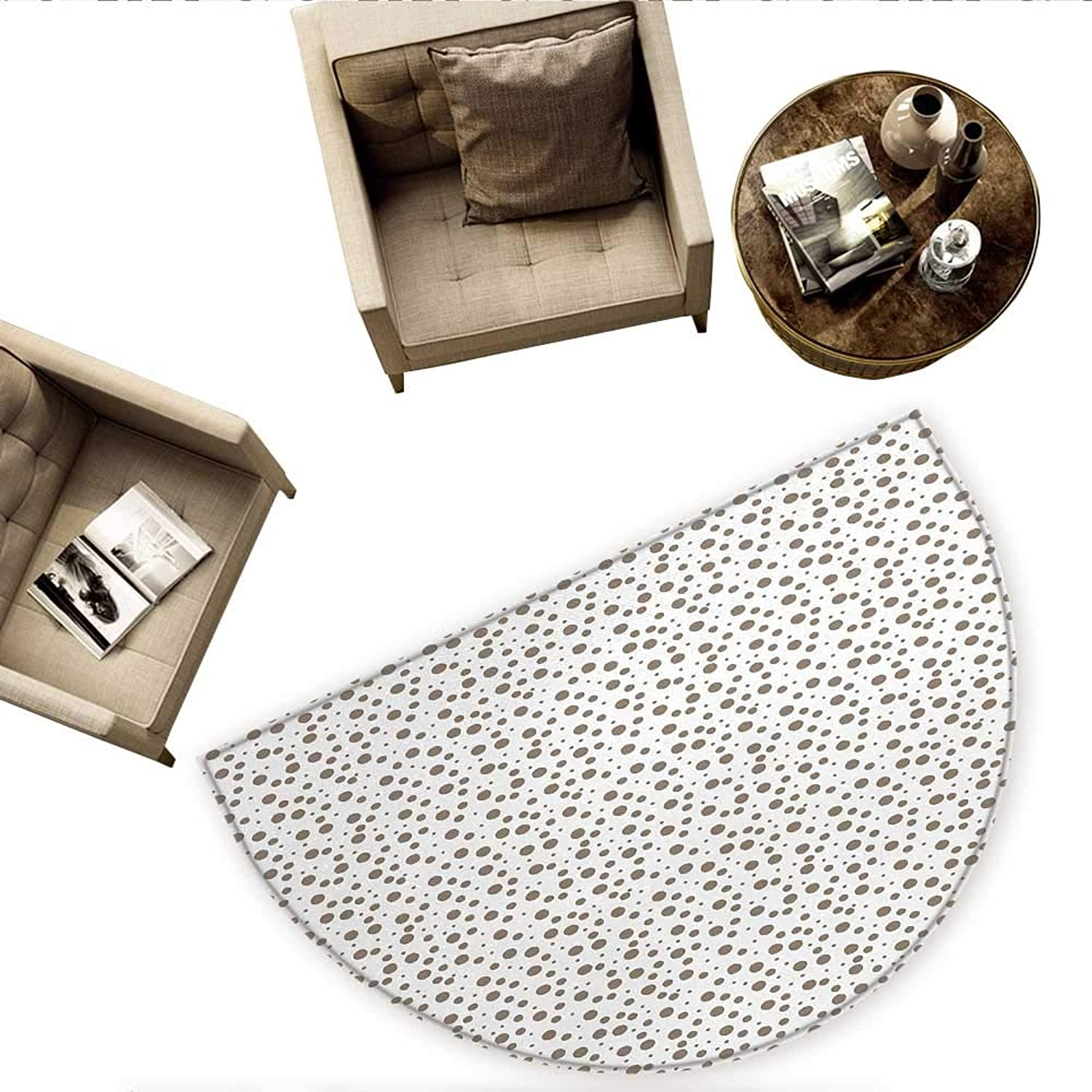 Brown Semicircular CushionBig and Small Drop Like Spots on White Background Vintage Style Old Fashioned Design Entry Door Mat H 66.9  xD 100.4  Cocoa White