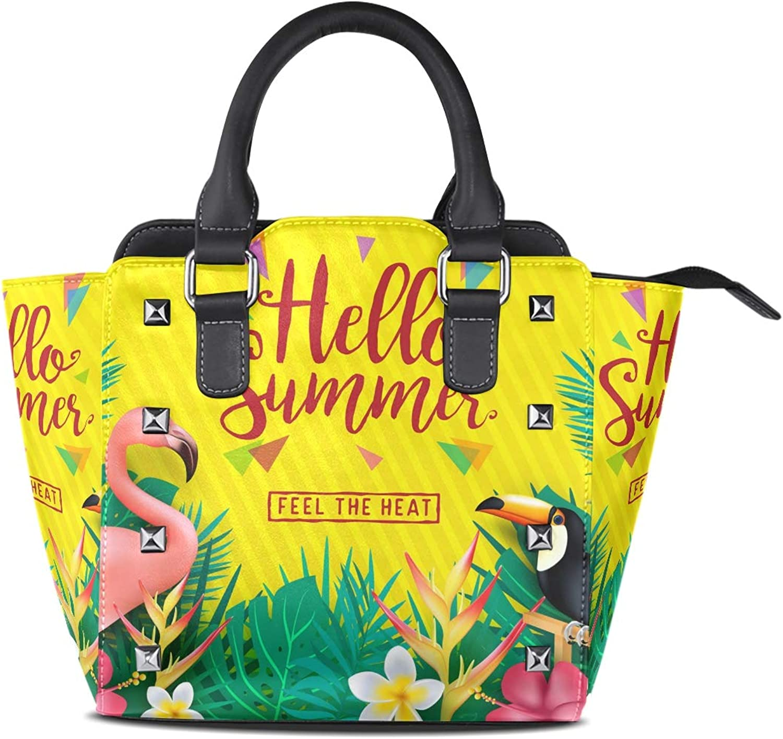 My Little Nest Women's Top Handle Satchel Handbag Hello Summer Leaves Flamingo Ladies PU Leather Shoulder Bag Crossbody Bag