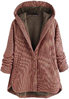 Womens Plaid Single Breasted Oversized Hoode Long Jacket with Pockets