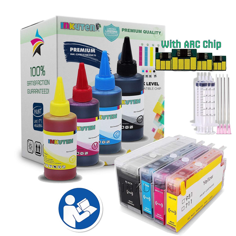 INKUTEN TM precargada cartuchos recargables para HP 711 Designjet T120 T520 con 400 ml botella de recarga Set: Amazon.es: Oficina y papelería