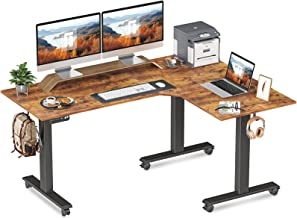 FEZIBO Triple Motor L-Shaped Electric Standing Desk, 63 inches Height Adjustable Stand Up Corner Desk, Sit Stand Workstati...