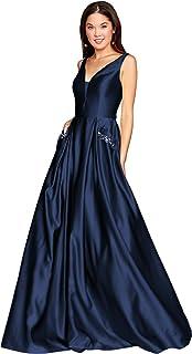 Zhongde Women`s Open Back Satin Prom Dress Long Evening Gown With Pockets