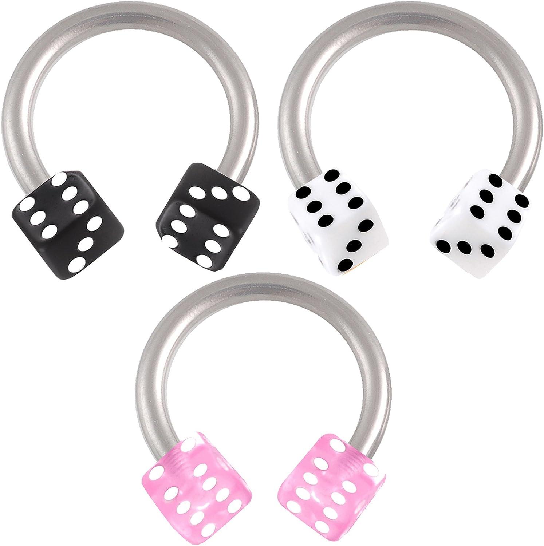 16g 16 Gauge 1.2mm 5/16 Horseshoe Rings Circular Barbell Bars Eyebrow Tragus Steel APTV Body Jewelry 3pcs