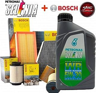Kit tagliando 4 FILTRI BOSCH + FILTRO CARBURANTE UFI ORIGINALI + 5 LITRI OLIO MOTORE SELENIA 5W30 (0451103300, F026400041,...