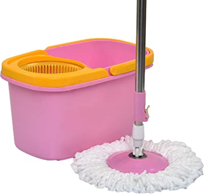 Regalo Easy Magic Floor Mop 360 Degree Bucket 2 Heads Microfiber Spin Spinning Rotating Head (Color May Vary)