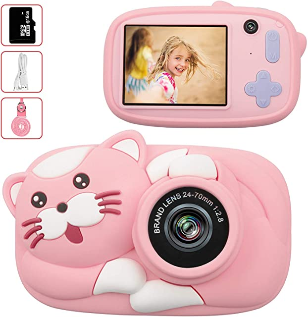 LeaderPro Cámara para NiñosDigitale Selfie para NiñosVideo cámara Infantil con Pantalla de 2.4PulgadasHD 2600 MP/1080P Doble Objetivoa Prueba de GolpesCarcasa de Silicona (Rosa)