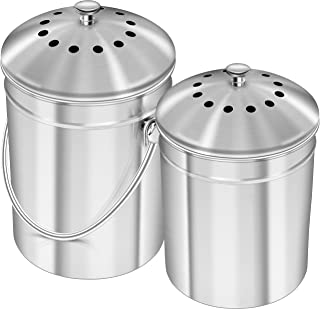 Utopia Kitchen Set of 2 Stainless Steel Compost Bins for Kitchen Countertop - 1 and 1.3 Gallon Compost Bucket Set with Lids
