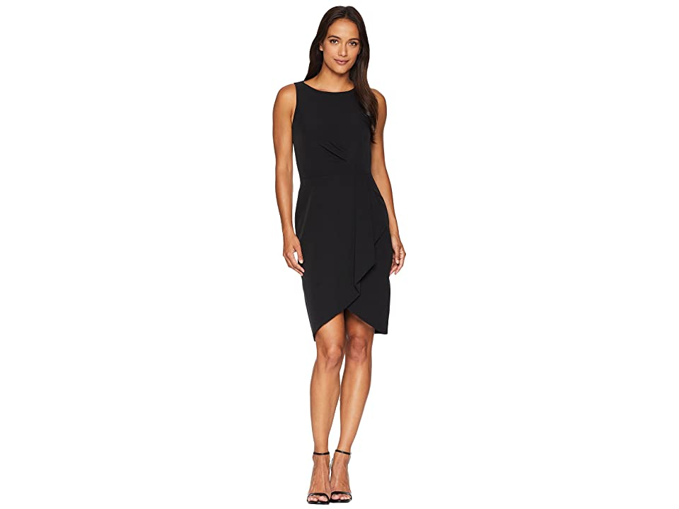 Tahari by ASL Petite Draped Hem Crepe Dress (Black) Women