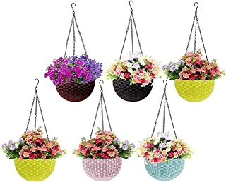 MOM'S GADGETS,Multicolor Round Rattan Woven Plastic Flower Hanging Planter/Beautiful Round Gamla Pot/Flower Hanging Pot fo...