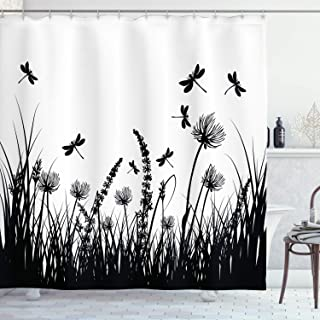 Ambesonne Nature Shower Curtain, Grass Bush Meadow Silhouette with Dragonflies Flying Spring Garden Plants Display, Cloth Fabric Bathroom Decor Set with Hooks, 70