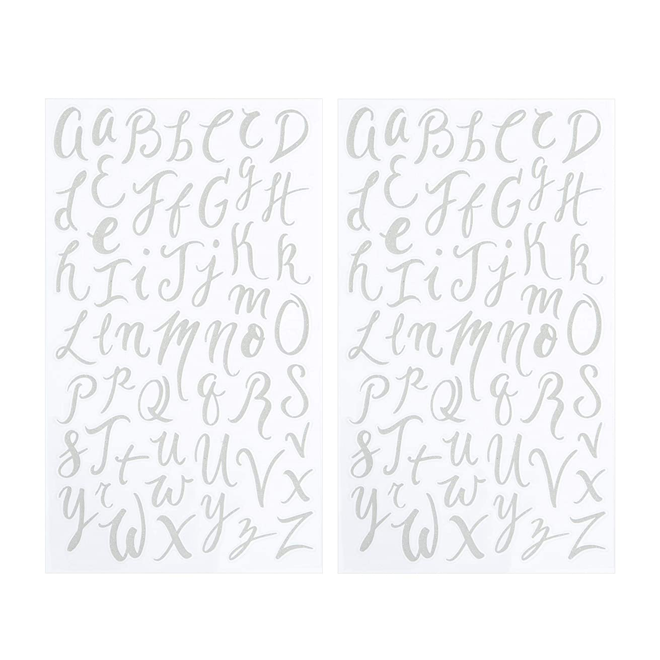 Darice 30052961 Small Handwriting Font Letter Stickers: White Glitter, 104 pc