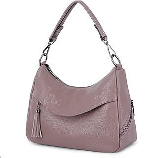 YALUXE Women's Cowhide Leather Purse Tote Shoulder Bag Handbag Purple