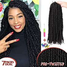 7 Packs 18 Inch Pre-twisted Passion Twist Crochet Hair Pre-looped Passion Twist Crochet Braids Bohemian Water Wave Passion Twist Crochet Hair Extensions (1B)