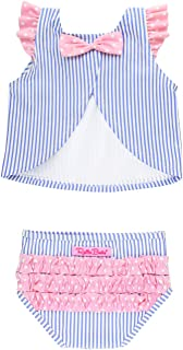 RuffleButts Baby/Toddler Girls 2 Piece Swimsuit with Open Back Tankini Top