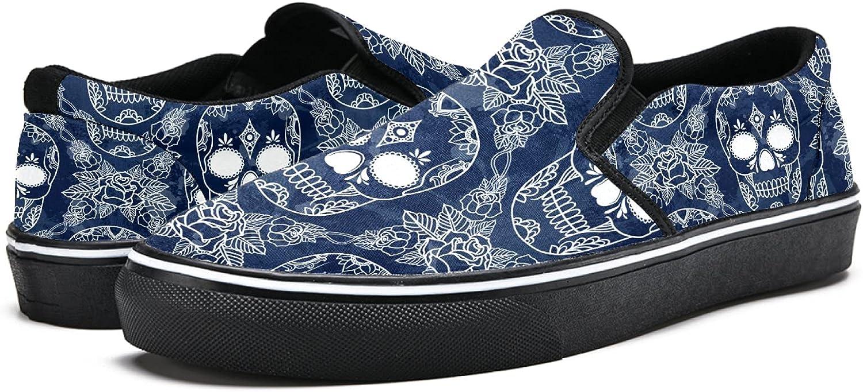 Men's Classic Slip-on Canvas Shoe Fashion Sneaker Casual Walking Shoes Loafers 4 Skull Flower