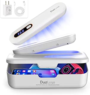 DuoLuxe UV Light Sanitizer Box - 2-in-1 UV Sterilizer Wand - Ultraviolet UVC Light, UV Phone Sanitizer - Kills 99.9% of Ge...
