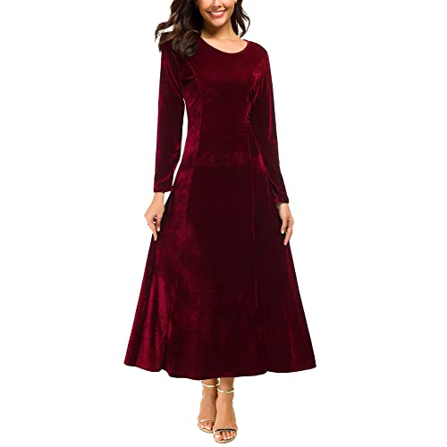 86a7e46a118 Urban CoCo Women s Elegant Long Sleeve Ruched Velvet Stretchy Long Dress