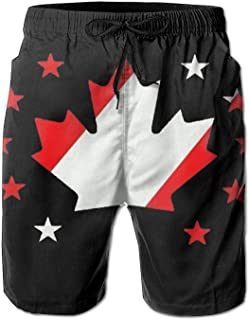 fd5b720750 YING Canadian Flag Men's Beach Board Shorts Swim Trunks Casual Gym Home  Pants with Pocket