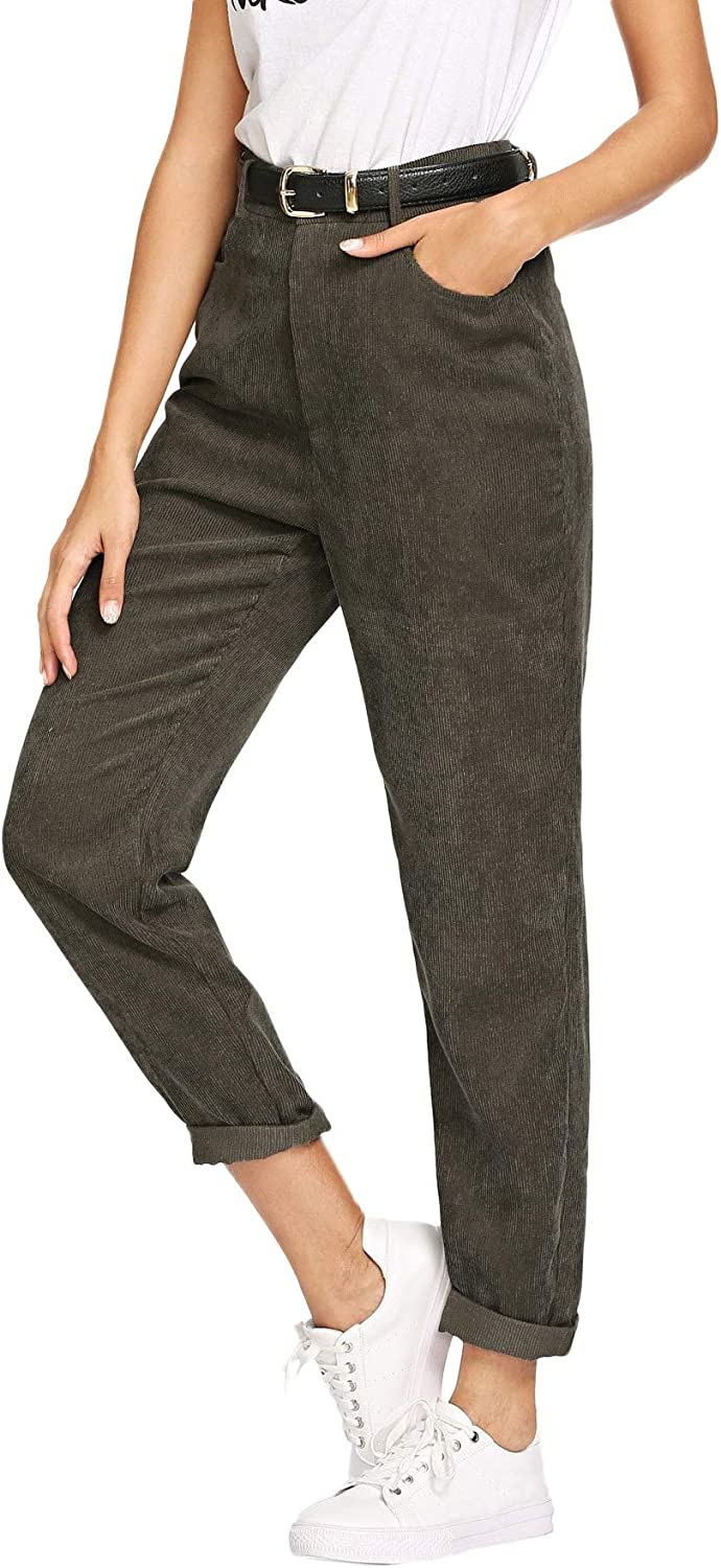 Milumia Women's Mid Waist Zipper Fly Pants Casual Solid Tapered Trousers with Pockets