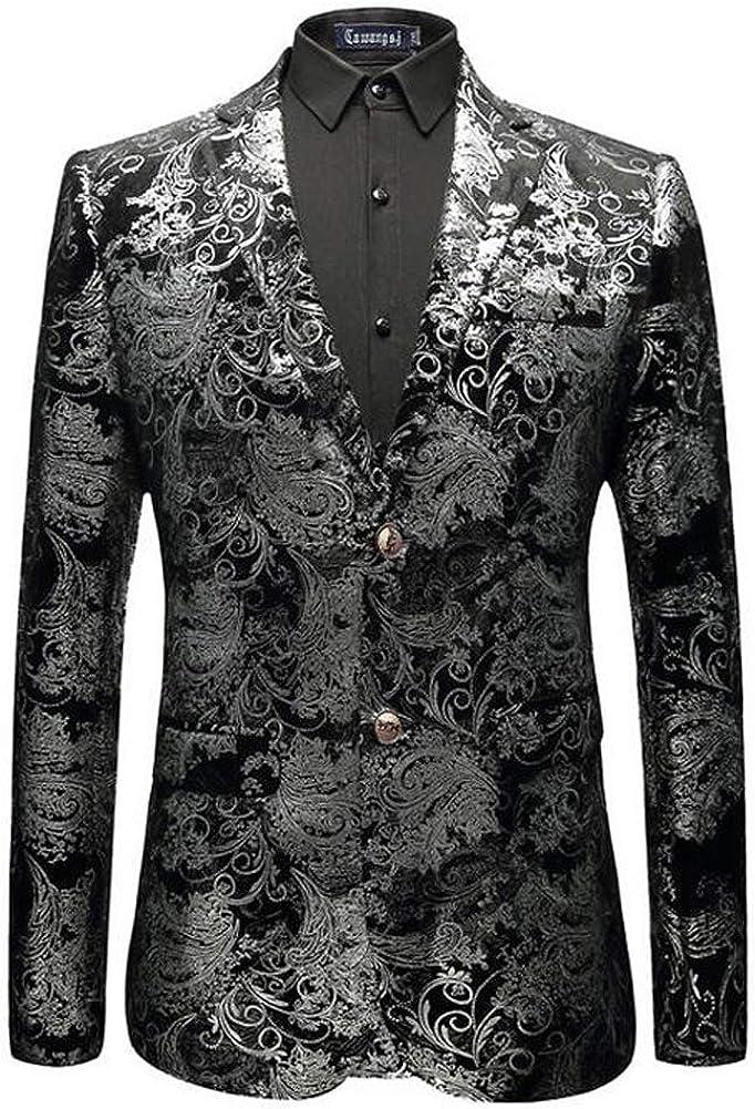 Men's Luxury Dress Floral Suit Notched Lapel Slim Fit Stylish Blazer
